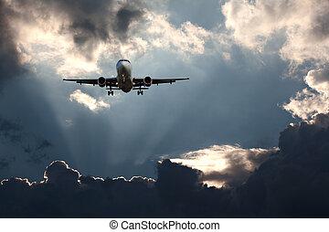 passageiro, céu tempestuoso, contra, avião, aproximação, final