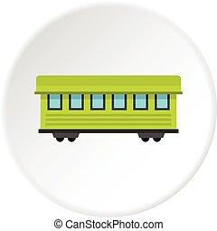passageiro, círculo, treine carro, ícone