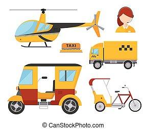 passageiro carro, diferente, helicóptero, caminhão, ilustração, táxi, isolado, fundo, transporte, bicicleta, ícone, táxi amarelo, furgão, carga, despachante, branca