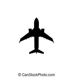 passageiro, carta patente, jato, simples, silhouette., aeronave, avião, icon.
