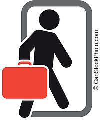 passageiro, com, bagagem, em movimento, expedir