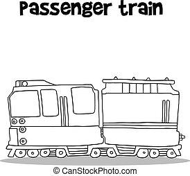 passageiro, desenhar, trem, mão
