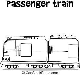 passageiro, desenhar, trem, transporte, mão