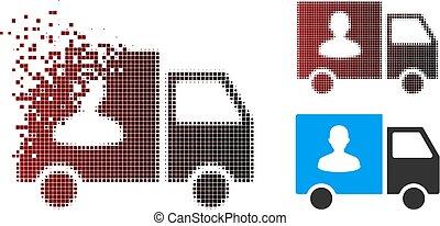 passageiro, dissolver, furgão, halftone, pixel, transporte, ícone