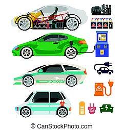 passageiro, elétrico, ícones, car, apartamento, vetorial, electrocar, mecanismo, automóvel, parte, ou
