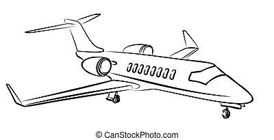 passageiro, esboço, aircraft.