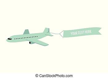 passageiro, esboço, forro, vetorial, verde, avião, ícone