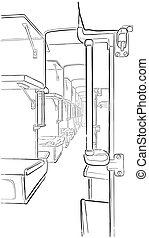 passageiro, esboço, trem, interior.