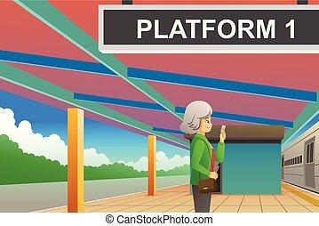 passageiro, esperando, trem, ilustração, estação