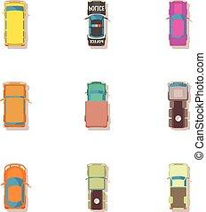 passageiro, estilo, ícones, jogo, car, caricatura