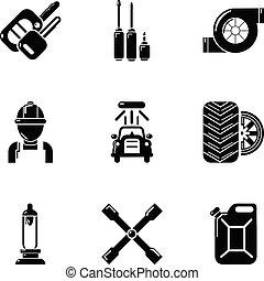 passageiro, estilo, ícones, jogo, car, simples