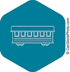 passageiro, estilo, esboço, car, trem, ícone