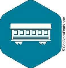 passageiro, estilo, simples, car, trem, ícone