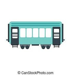 passageiro, estrada ferro, vagão, ícone