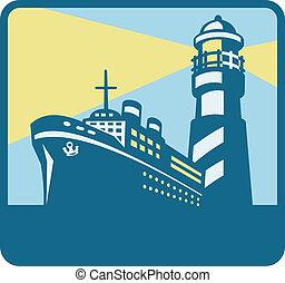 passageiro, farol, carga, retro, navio, bote