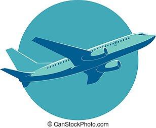 passageiro, fundo, vôo, avião, vetorial, vista.