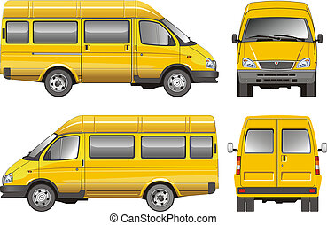 passageiro, furgão, amarela