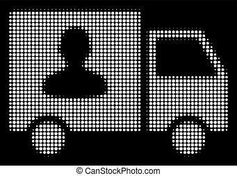 passageiro, furgão, halftone, branca, transporte, ícone