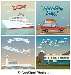 passageiro, industry., viagem, travel., ilustração, ar, banners., holidays., vetorial, carro., mar, ship., turismo, train.