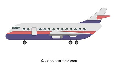 passageiro, isolado, ilustração, aeronave, vetorial, fundo, branca