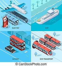 passageiro, isometric, conceito, desenho, 2x2, transporte