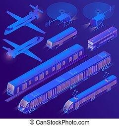 passageiro, isometric, transporte terra, ar, vetorial, 3d