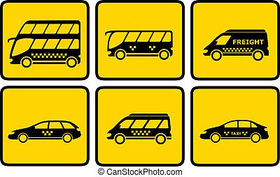 passageiro, jogo, amarela, transporte, ícone