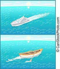 passageiro, jogo, forro, vetorial, barco pesca, remos