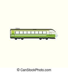 passageiro, locomotiva, vetorial, modernos, ilustração, trem, verde, metrô, fundo, branca, transporte