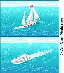 passageiro, lona, velejando, vela, forro, branca, bote