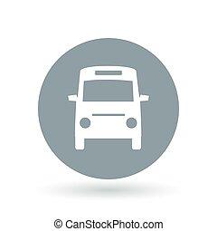 passageiro, minibus, illustration., autocarro, sinal., símbolo., vetorial, veículo, icon., transporte público