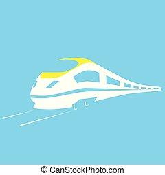 passageiro, modernos, -, rapidamente, trem, ferrovia, transporte