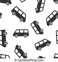 passageiro, negócio, padrão, concept., minivan, isolado, autocarro, seamless, entrega, experiência., vetorial, caminhão, ilustração, car, branca, sinal, bandeira, ícone