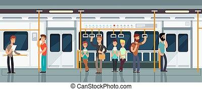 passageiro, pessoas, modernos, ilustração, carruagem, vetorial, metrô, interior