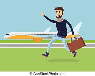 passageiro, plane., corrida homem, mala