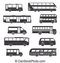 passageiro, pretas, autocarro, ícones