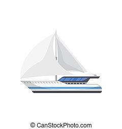 passageiro, sailboat, isolado, ícone, vista lateral