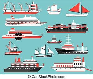passageiro, sailboat., set., navios, volume, iate, navio, cruzeiro, portador