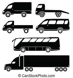 passageiro, silhuetas, modernos, carros frete