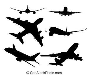 passageiro, silhuetas, pretas, aeronave