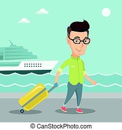 passageiro, suitcase., ir, shipboard