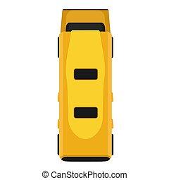 passageiro, transporte, apartamento, isolated., autocarro, topo, pictograma, amarela, veículo, above., vetorial, tráfego, car, furgão, ícone, caricatura, simples, vista