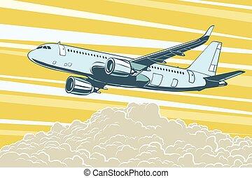 passageiro, transporte, nuvens, voando, ar, aeronave, acima