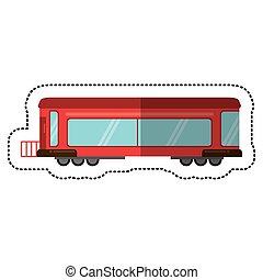 passageiro, trilho, trem, vermelho, sombra, transporte