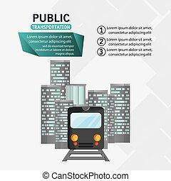 passageiro, urbano, trem, infographic, transporte público