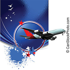 passageiro, ve, ar., avião.