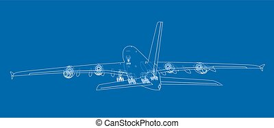 passageiro, vetorial, aircraft.