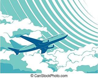 passageiro, vetorial, céu, avião