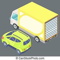 passageiro, vetorial, grande, amarela, caminhão, car, verde