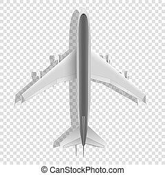 passageiro, vetorial, isolado, icons., experiência., avião, acima, avião, transparente